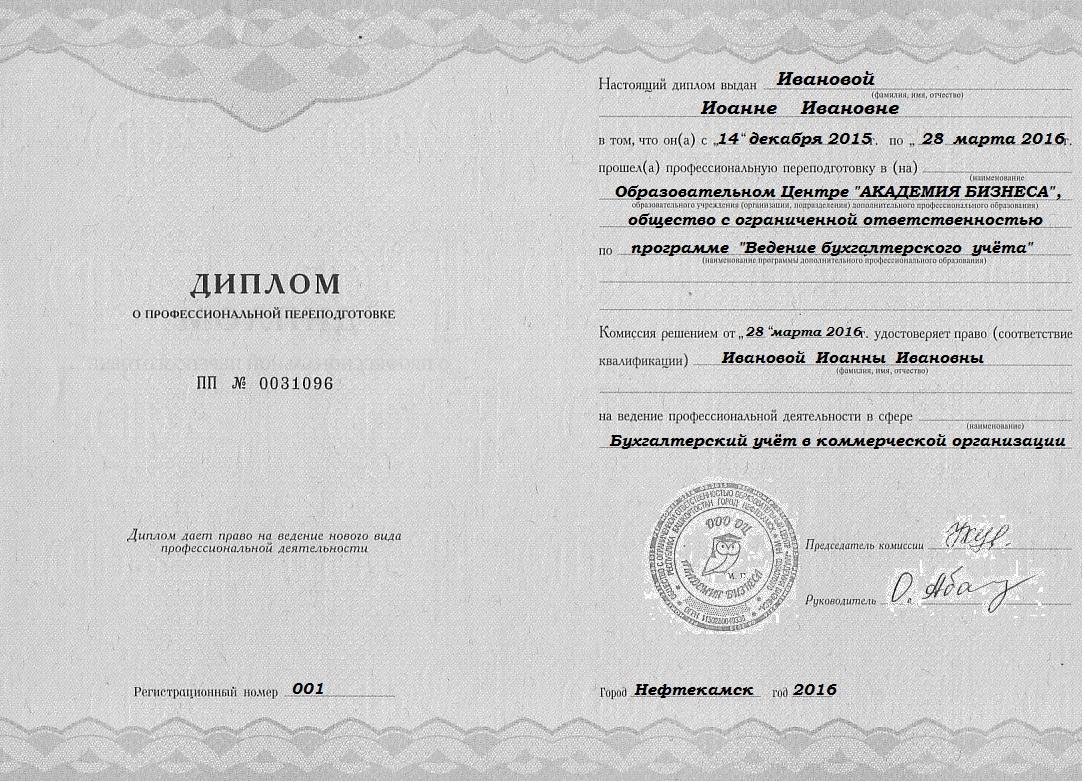 Копия диплома о профессиональной подготовки